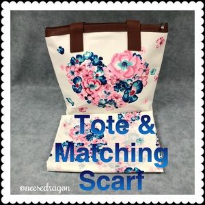 Handbags - White & Brown Floral Tote w/ Matching Scarf